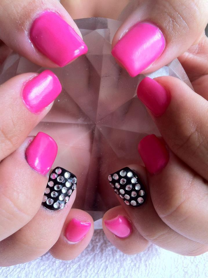 hot pink nails with diamonds-#34