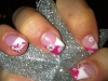 white and pink sparkle with snowflakes